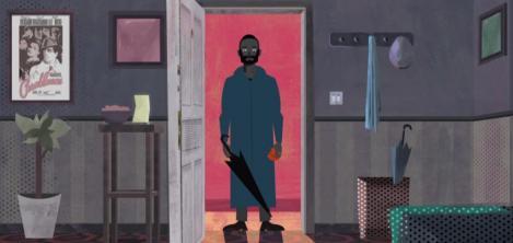 hombre entrando a una sala